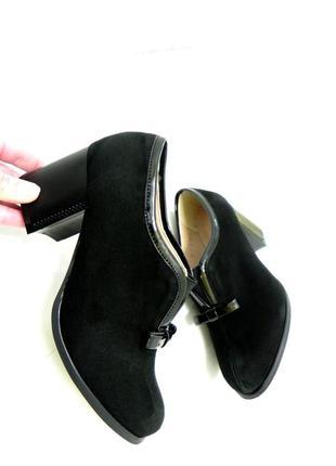 Замшевые  закрытые туфли ботильоны на удобном каблуке 35.
