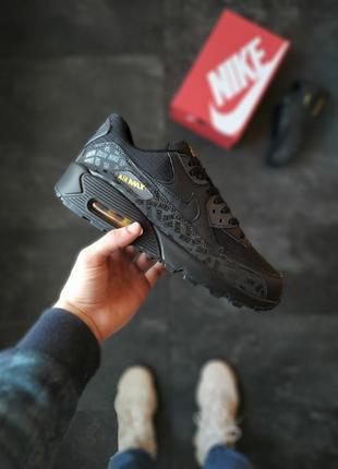Nike air max 90 black мужские кроссовки найк чёрные