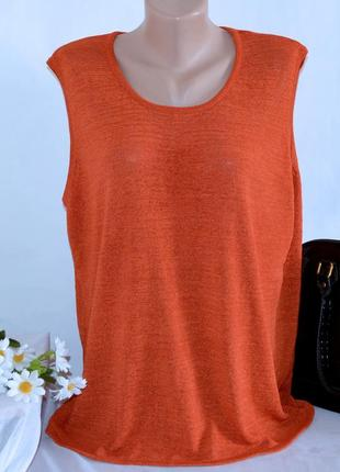 Брендовая оранжевая блуза без рукавов топ вискоза большой размер