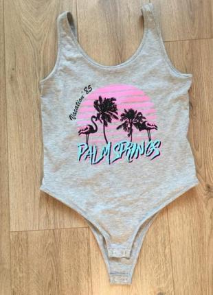 Боди пальмы лето комбинезон комбидресс майка кофта футболка