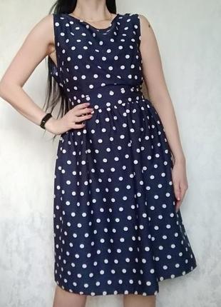 Шикарне  плаття в горошок ,класична синя сукня горошок