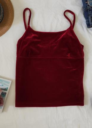 Шикарны топ красного цвета велюровый винтаж