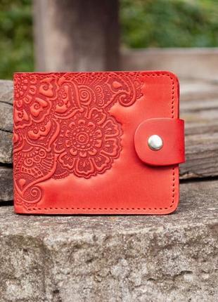 9 отделов, натуральная кожа маленький красный кошелек женский с орнаментом тиснение