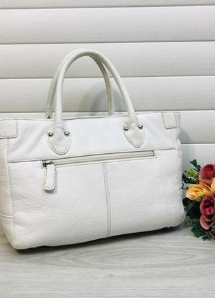 Белая кожаная сумка из натуральной кожи италия