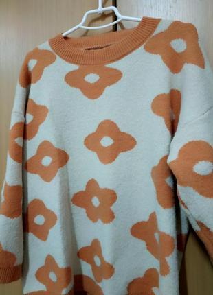Свитер оверсайз в цветочки, теплый свитер,пуловер