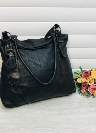 Большая кожаная сумка из натуральной кожи италия