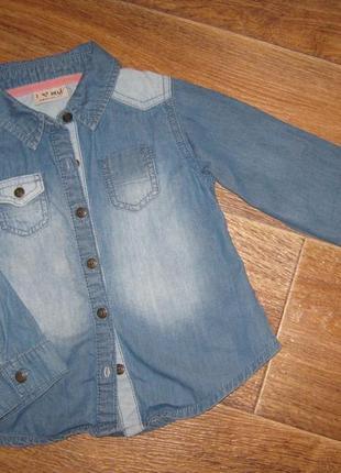 Комбинированная тонкая джинсовая рубашка от next, 4 года   78грн