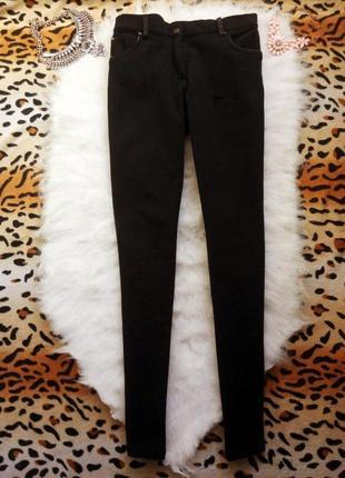 Черные брюки штаны с кожзам отделкой zara леггинсы стрейч плотные узкачи2 фото