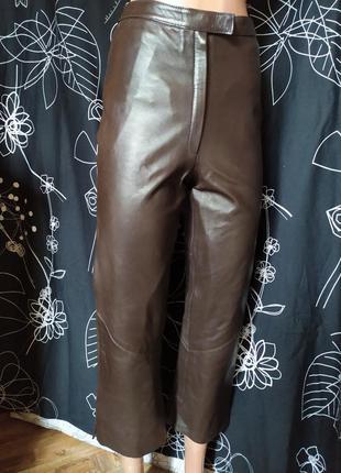 Кюлоты штаны укороченные100%кожа лайковая мягкая высокая посадка известного бренда arma