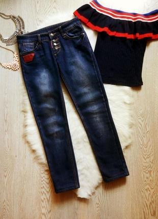 Утепленные синие зимние джинсы на флисе темные с болтами узкие скинни прямые теплые