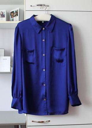 Синяя струящаяся рубашка большого размера от debenhams