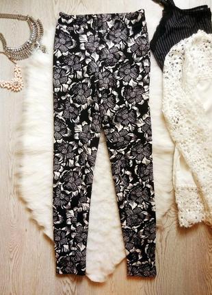 Яркие плотные штаны леггинсы лосины стрейч цветочный принт рисунок черные белые цветы
