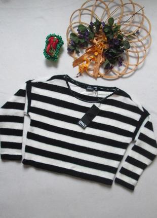 Крутой трендовый укороченный свитер кроп-свитшот оверсайз в широкую полоску only.3 фото