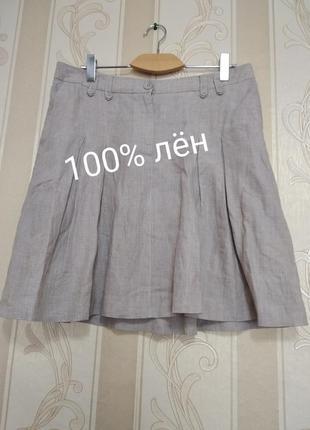 Льняная юбка со складками, h&m.