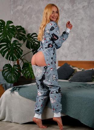 Пижама с карманом на попе (попожама) серые котики