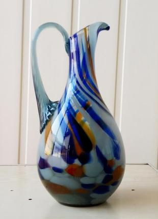 Кувшин винный ссср цветное гутное стекло графин
