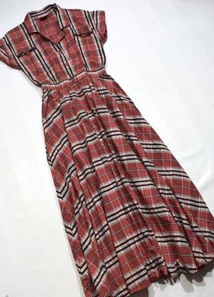 Котонове плаття в клітинку, на гудзиках