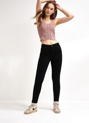 Черные джинсы прямые стрейч скинни высокая талия посадка американки узкачи
