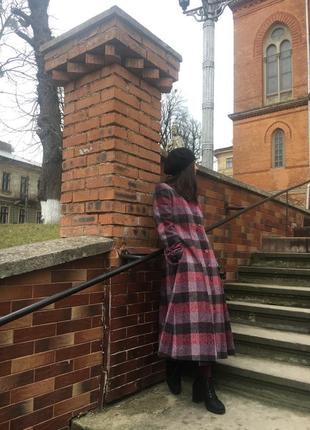 Довге шерстяне пальто в стилі вінтаж ретро 38/м vonnie reynolds made in ireland