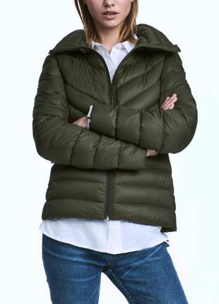 Пуховик короткий куртка хаки h&m s