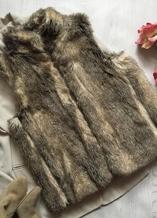 Меховая жилетка/жилетка эко мех(l/xl)