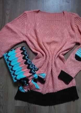 Кофта-туника, заплатки+шарф