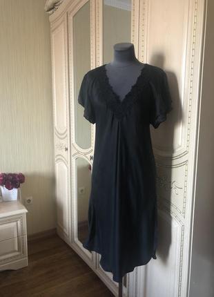 Домашнее шелковое платье ночнушка пеньюар, натуральный шёлк шелк,