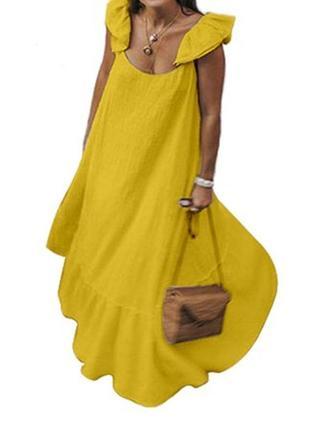 Красивое🔥 желтое платье в пол ,платье миди, большой размер от  celmie collection.😚