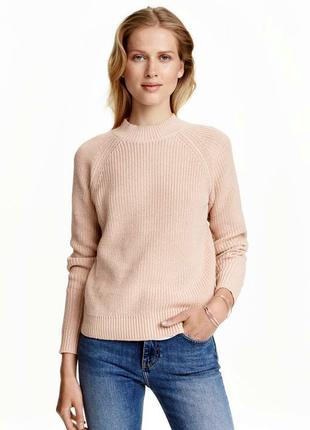 Сильный пудровый свитер с молнией на спине от h&m