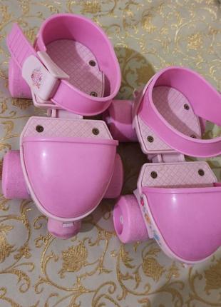 Детские раздвижные ролики квады для девочки розовые