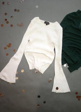 Белый свитер topshop, рукава клеш