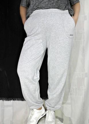 Серые меланжевые штаны, треники, с начесом, унисекс