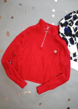 Яркий красный свитер с замочком new look