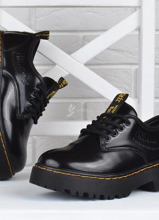 Ботинки женские на платформе dr.martens style мартенсы стиль черные лакированные