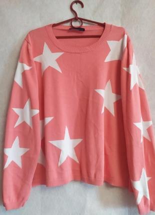 Яркий стильный свитер большого размера в звёздах от m&s