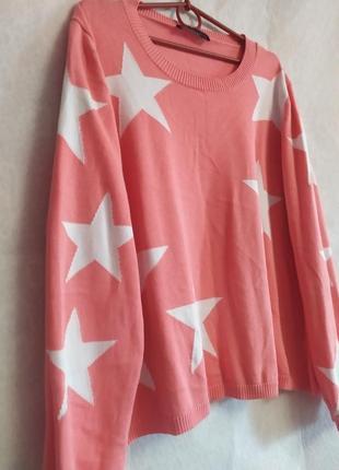 ❤️скидка❤️с 20.03 по 1.04❤️яркий стильный свитер большого размера в звёздах от m&s2 фото