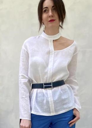 Рубашка льняная с асимметричным вырезом