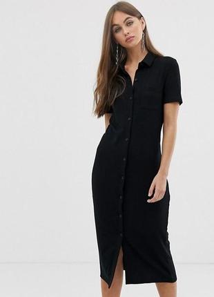 Хлопковое базовое платье рубашка h&m