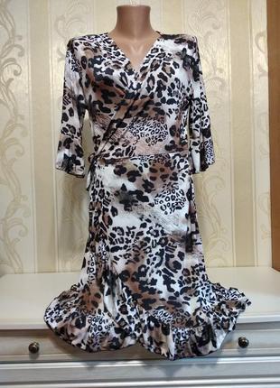 Платье, халат на запах с принтом леопарда, италия.