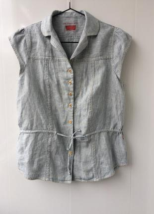 Льняная блузка,рубашка в полоску,принт levis,36/s