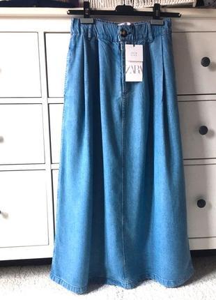 Новая джинсовая юбка миди zara