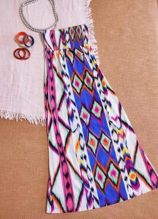 Платье сарафан яркое длинное макси на резинке этно бохо