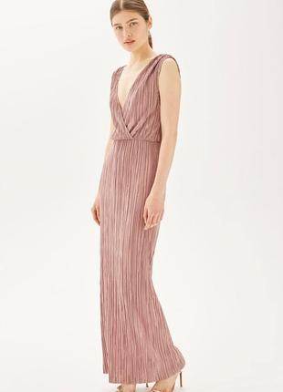 Шикарное длинное платье плиссе/платье вечернее/платье в пол открыта спинка
