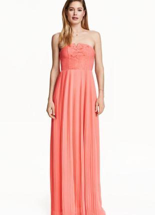 Шикарное вечернее/выпускное длинное платье плиссе/корсетное с кружевом