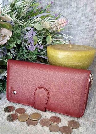 Большой кожаный кошелек-клатч картхолдер, 100% натуральная кожа, есть доставка бесплатно