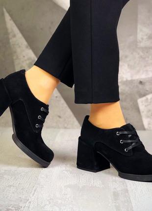 36-40. базовые замшевые закрытые туфли на шнурках на ассиметричном каблуке