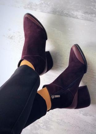 36-40. эксклюзив! роскошные кожаные замшевые деми ботинки на широком каблуке