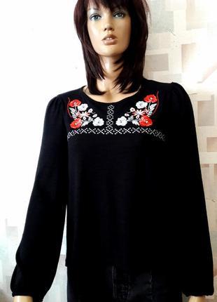 Стильный  джемпер с вышивкой и пышным рукавом от new look