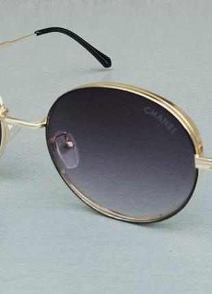 Chanel очки женские солнцезащитные круглые серые в золотой металлической оправе