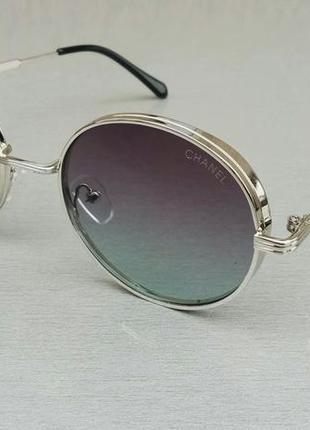 Chanel очки женские солнцезащитные круглые в серебристой металлической оправе